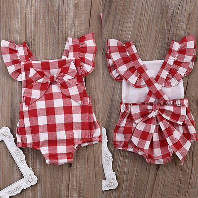 Baby Girls Red Checkered Romper with Bow Pin