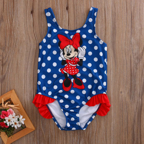 Girls Minnie Mouse Polka Dots One Piece Swimsuit