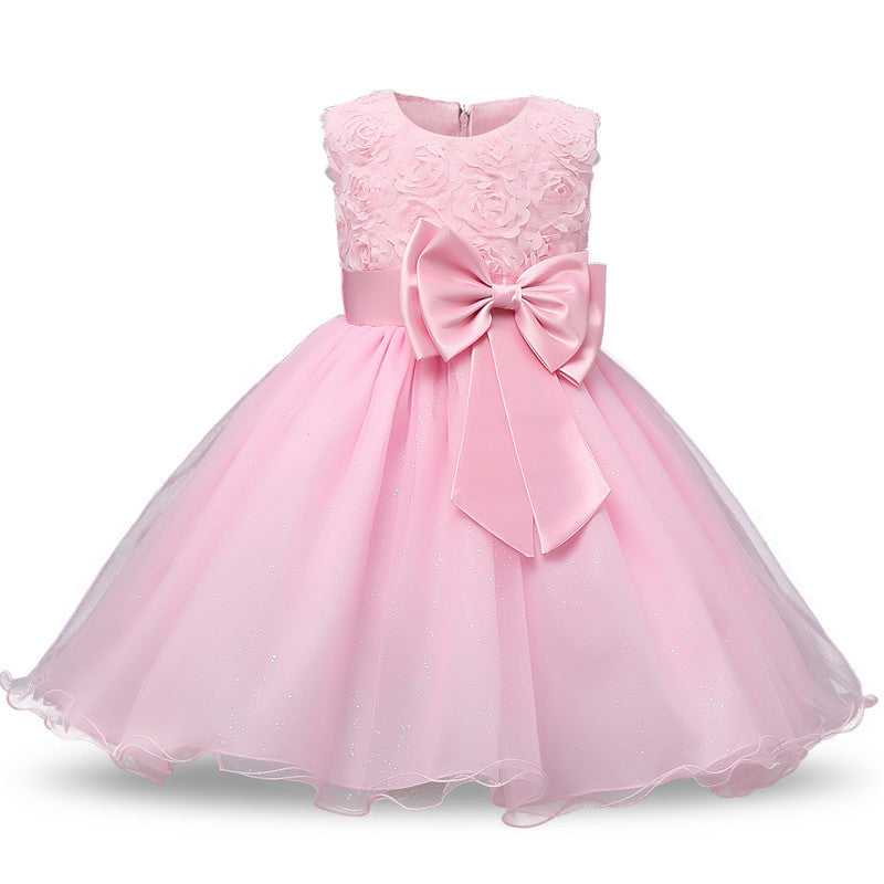 Girls Roses and Bow A-Line Fancy Dress: 8 colors!