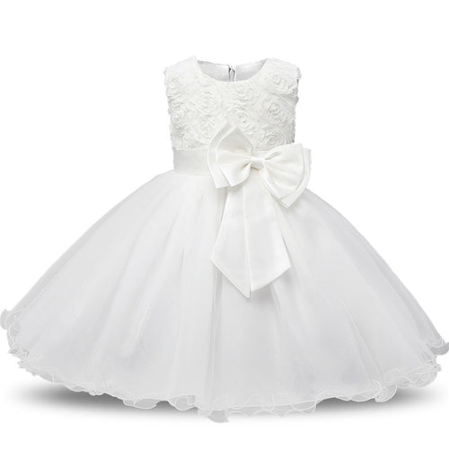 Girls Roses and Bow A-Line Dress: 8 colors!