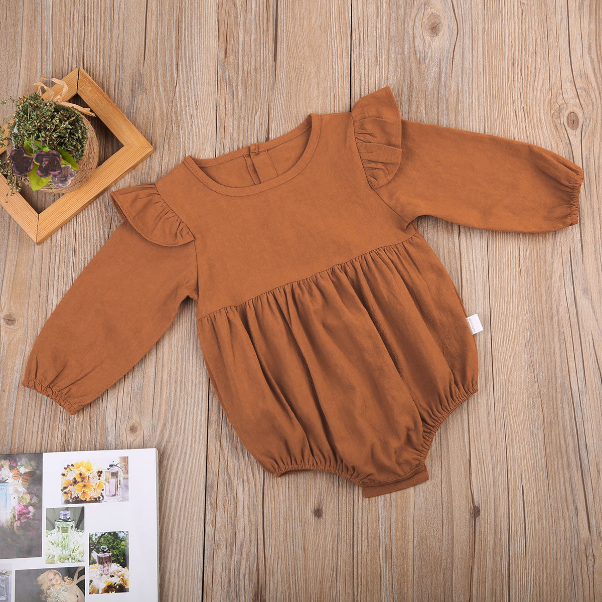 7631dec2043 Vintage Feel Baby Girls Flutter Shoulder Long Sleeved Romper – Stork ...