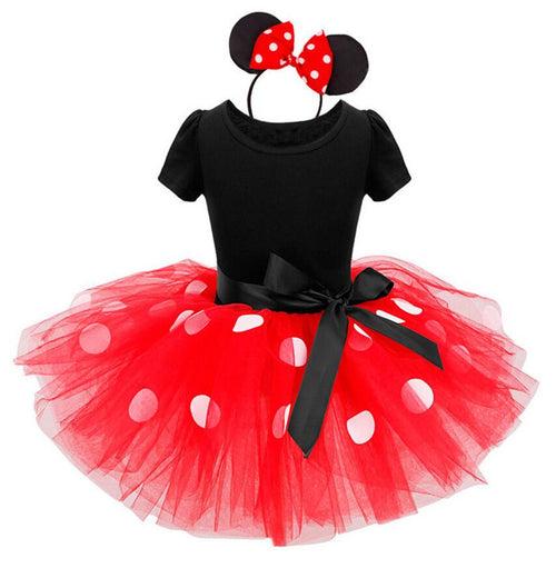 Minnie Mouse Birthday Party Dress with a Top, Bow, Lace Princess Bottom and Ears