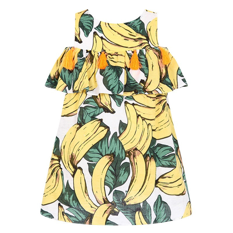Girls Banana or Pineapple Off Shoulder Tassel Dress