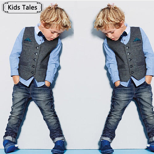 Boys Preppy Blue Long Sleeve Shirt, Bow Tie, Vest, and Jeans 4 pc Set