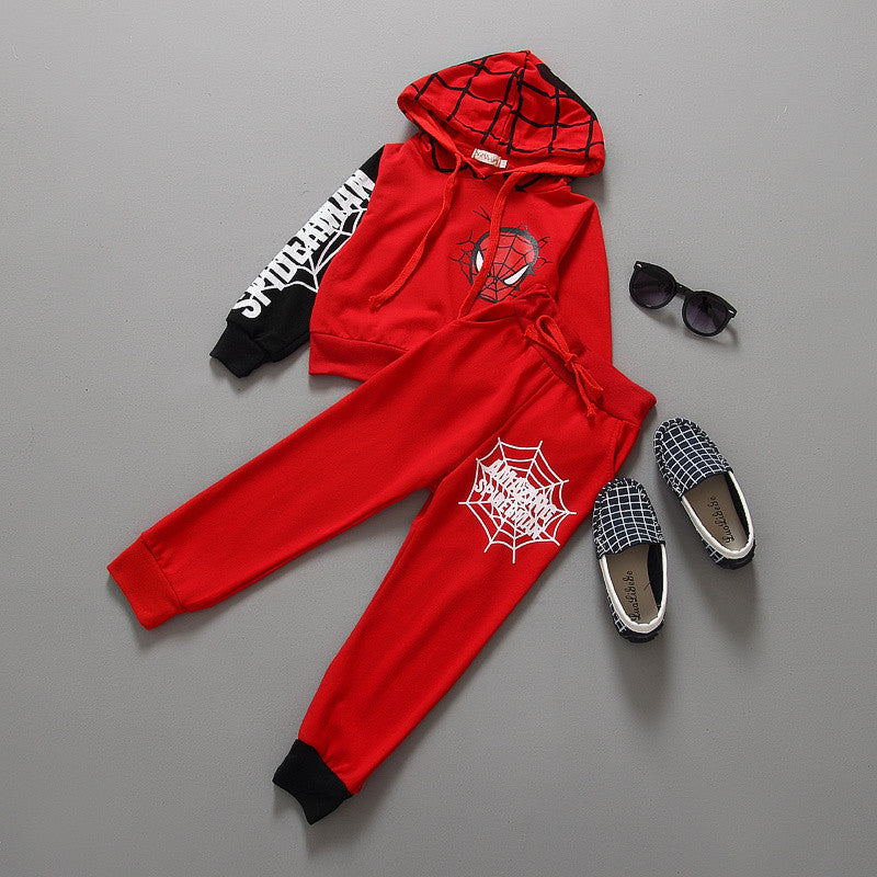 Red or Black Spiderman Long Sleeve Hoodie & Pants Set