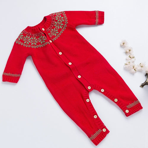 Christmas Red or White Button Up Knit Jumpsuit