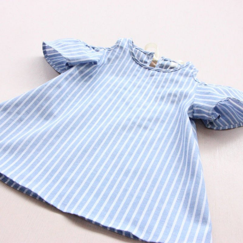 Girls Off the Shoulder Striped Chambray Look Dress