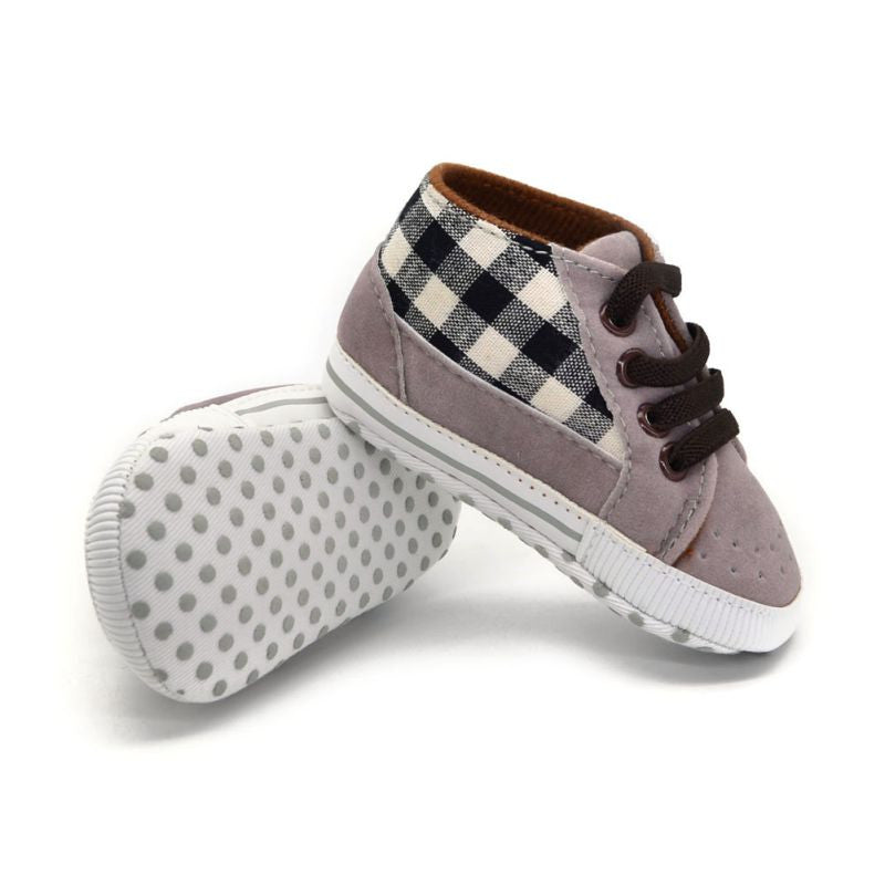 Gray Plaid Baby Boys Lace Up Sneakers – Stork and Fox