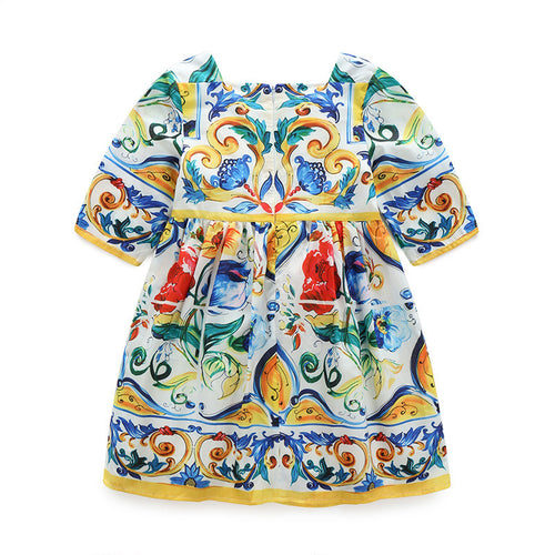 Girls Mexican Tile Work Inspired Dress