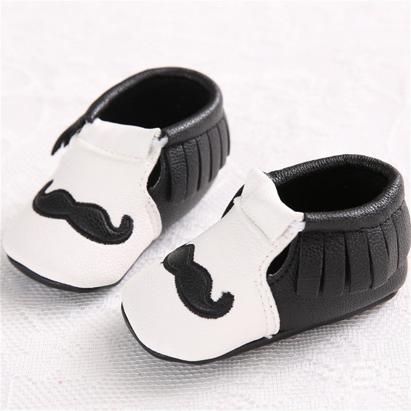 Baby Boys Mustache Moccasins: 2 Colors!