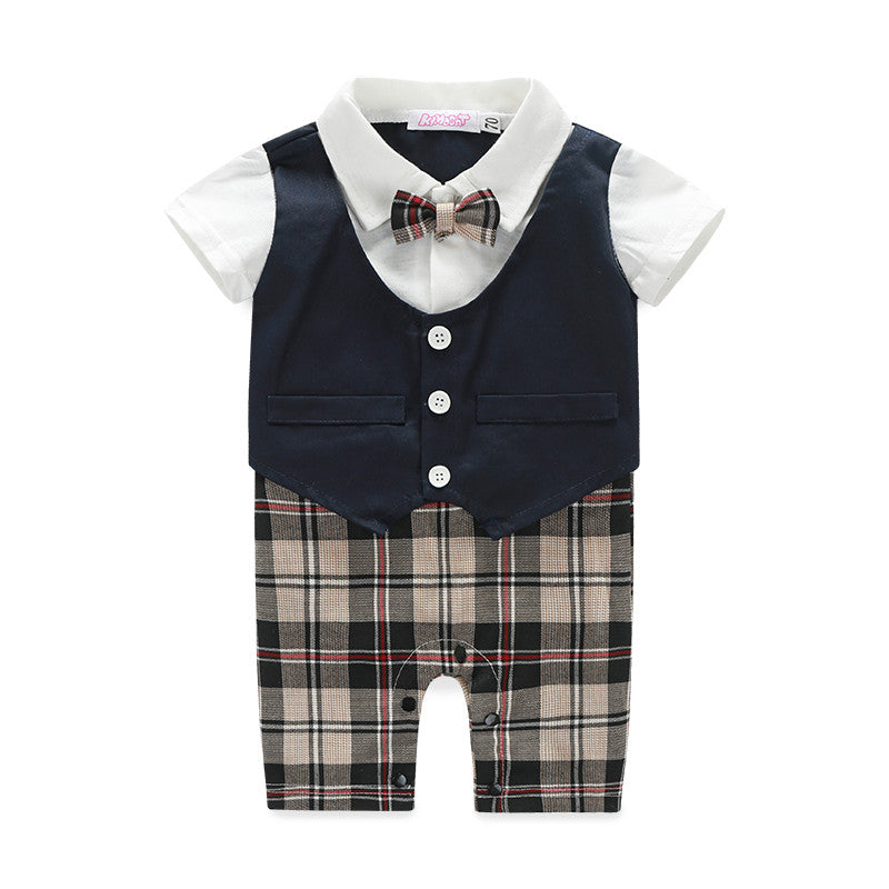 Baby Boys Short Sleeve Plaid Romper with Bow Tie & Vest