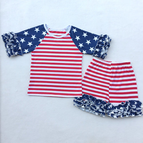 Patriotic America Striped T-Shirt and Shorts 2 pc. Set