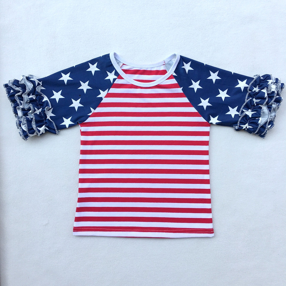 Girls Patriotic Stars & Stripes Ruffle Top & Shorts 2 pc. Set: 2 Styles!
