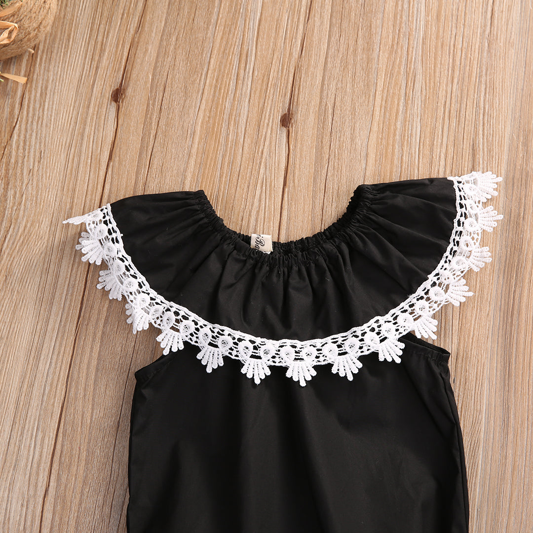 Baby Girls Black Bubble Romper with Lace Collar