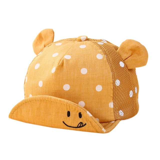Baby Polka Dot Baseball Cap with Ears: 5 Colors!