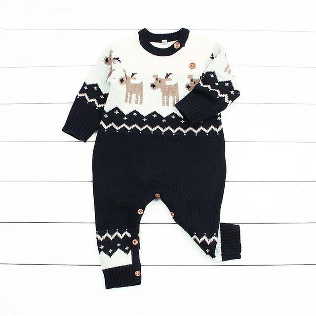 Navy or Red Baby Unisex Reindeer Christmas Jumpsuit
