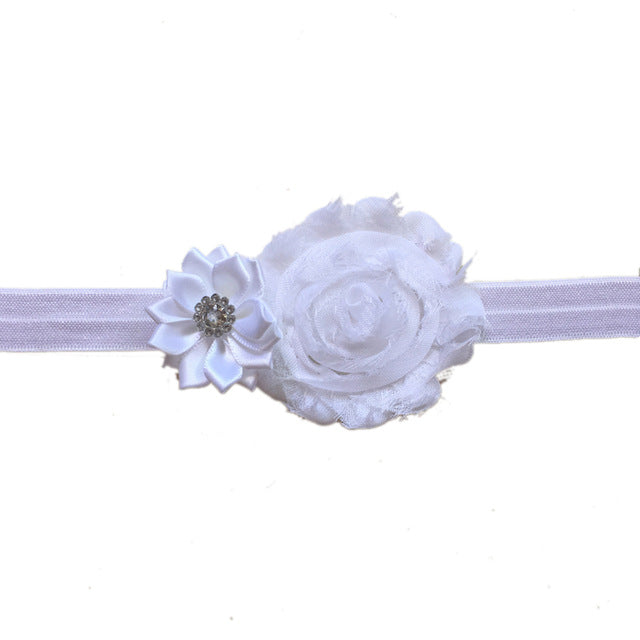 Baby Girls/ Girls Shabby Chic Flowers and Gem Headband: 14 Colors!