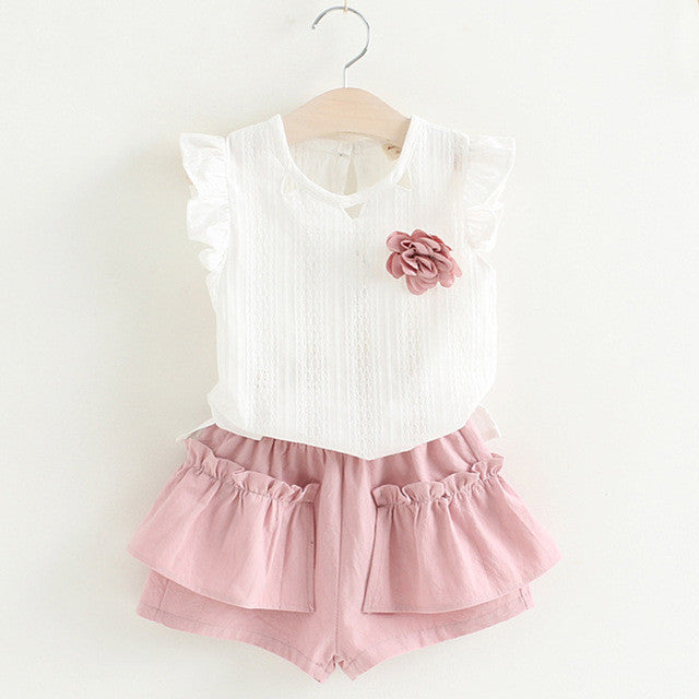 Girls Sleeveless White Top and Ruffle Shorts 2 pc. Set