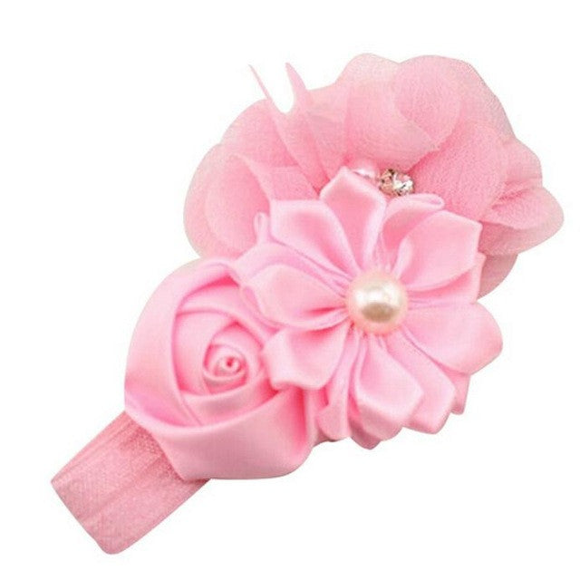 Flower Headband with Pearls and Rhinestones