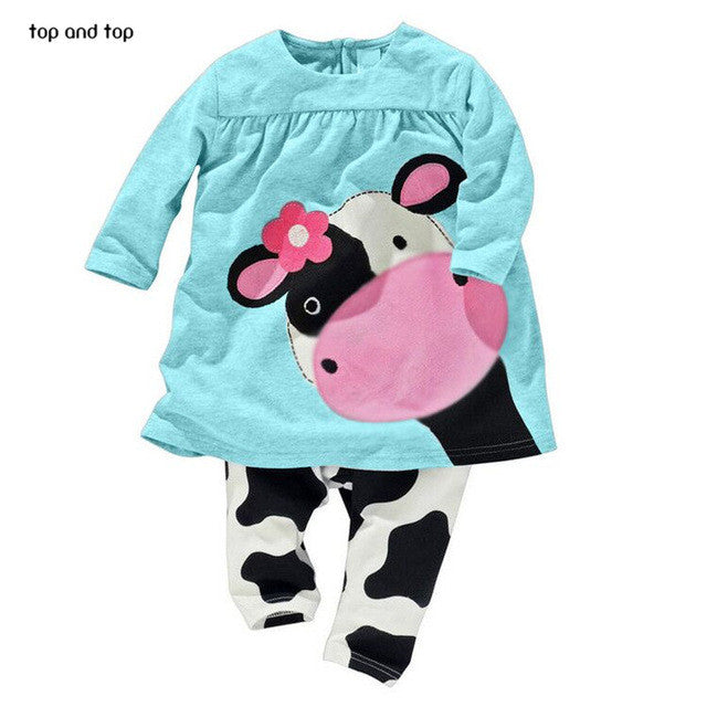 Baby Girls Long Sleeve and Pants Cow Set