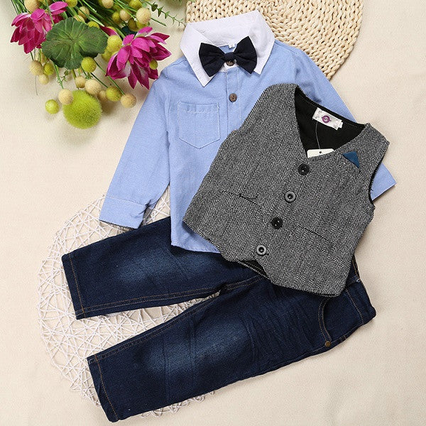 Boys Preppy Long Sleeve Shirt, Bow Tie, Vest, and Jeans 4 pc. Set