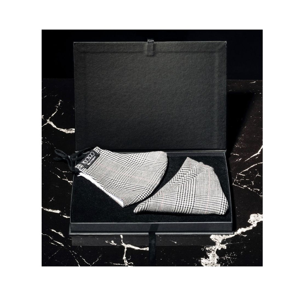 Pocket Square &  Face Mask Check Gift Set