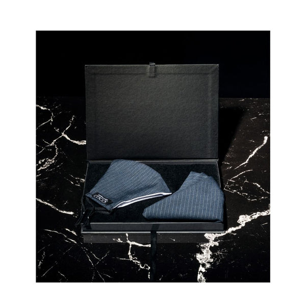 Pocket Square &  Face Mask  Pinstripe Gift Set