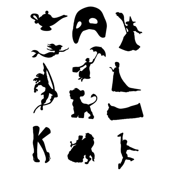 Broadway Black Silhouette Die Cut Stickers
