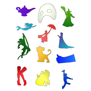 Broadway Silhouettes Various Colored Die Cut Stickers