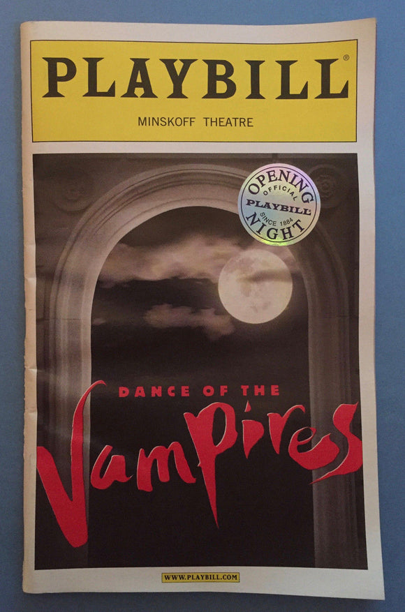 Dance Of The Vampires Opening Night Playbill - Broadway Bazaar