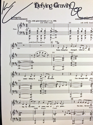 Defying Gravity - Wicked Score Page Signed By Kristin And Idina