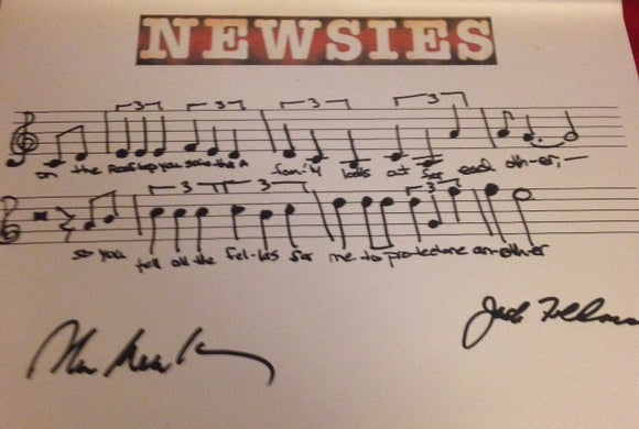 Disney's Newsies Musical Phrase - Signed By Emmy, Grammy & Tony Winner Alan Menken & Tony Winner Jack Feldman