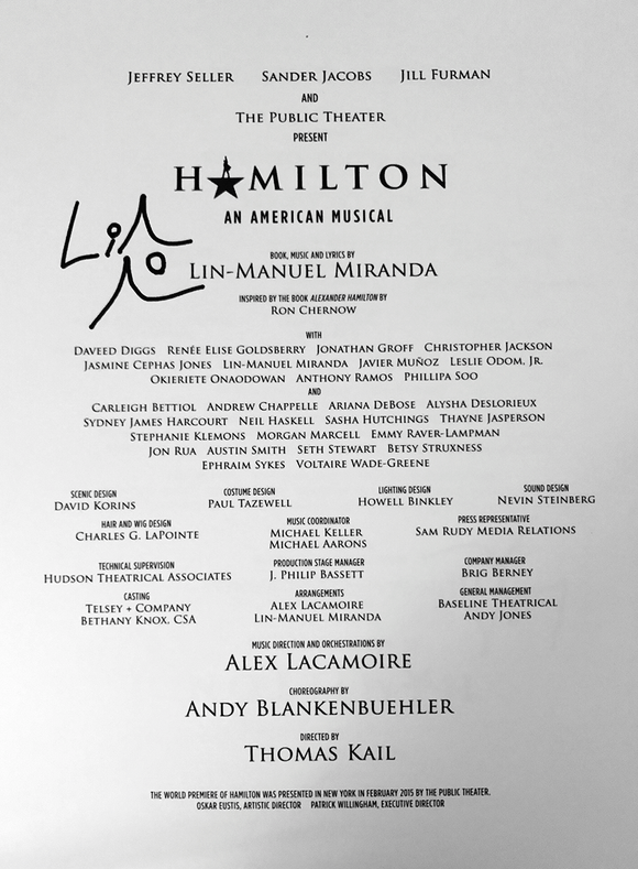 Hamilton - Score Sheet Music Signed By Lin-Manuel Miranda