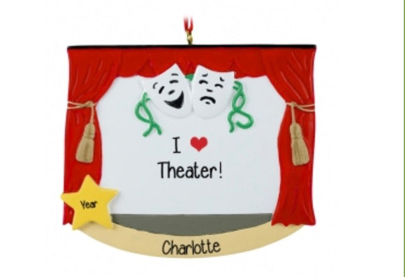 I Love Theater Ornament - Broadway Bazaar