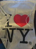 I Love New York Official White Drawstring Bag - Broadway Bazaar