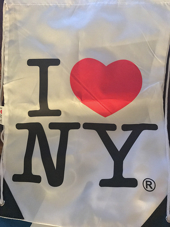 I Love New York Official White Drawstring Bag