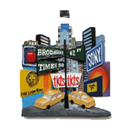 Street Lights Times Square Panoramic View Magnet