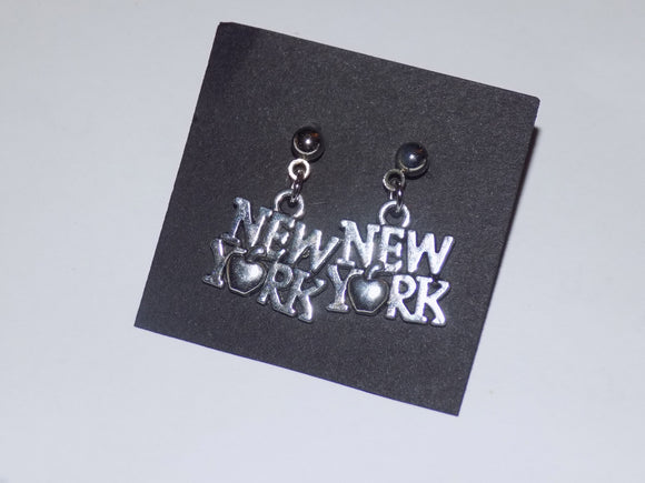 New York Big Apple Silver Earrings - Broadway Bazaar