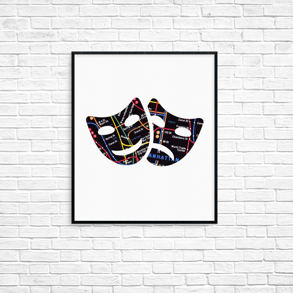 Tragedy and Comedy Subway Masks Print 8x10