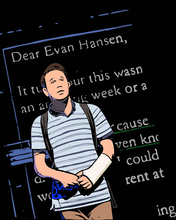 Dear Evan Hansen Ben Platt Illustration 8x10 Print - Broadway Bazaar