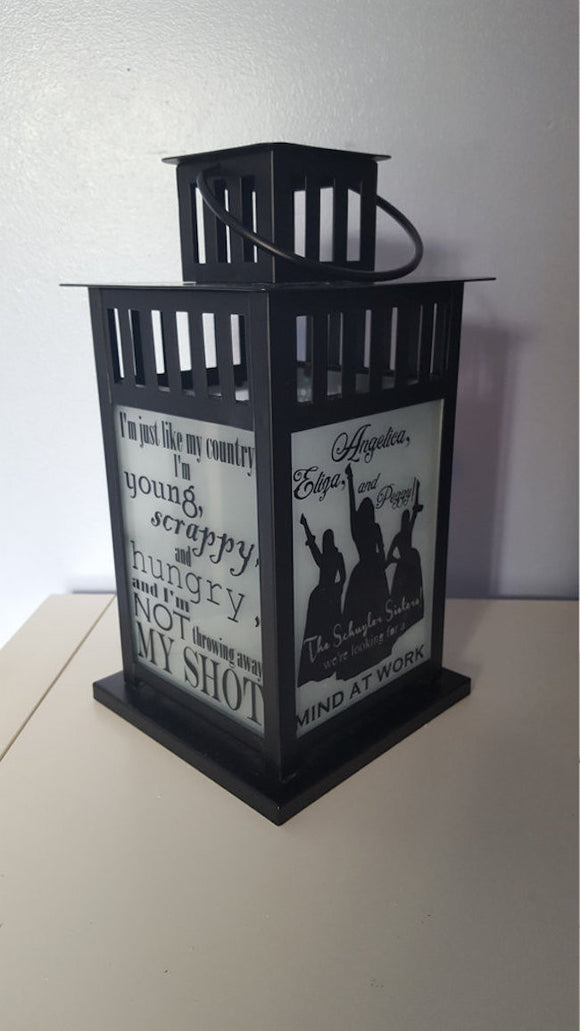 Hamilton The Musical Lantern - Candle Lit, Clear Glass - Broadway Bazaar