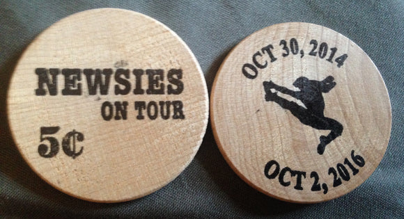 Newsies On Tour Commemorative Wooden Nickel - Broadway Bazaar