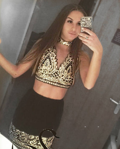mesh, embellished, sequin, two piece, co ord, lilipearl, lace, gold, black, diamante,