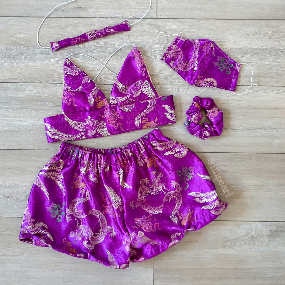 Purple Dragon LILIPEARL handmade triangle bralet  - LiLiPearl - LiLiPearlUK - Handmade luxury dragon satin chinese unique womens clothing lace mesh prom dress festival crop top sequin bodychain dolls kill depop shopify silkfred chelsea pearl li bralet lili pearl