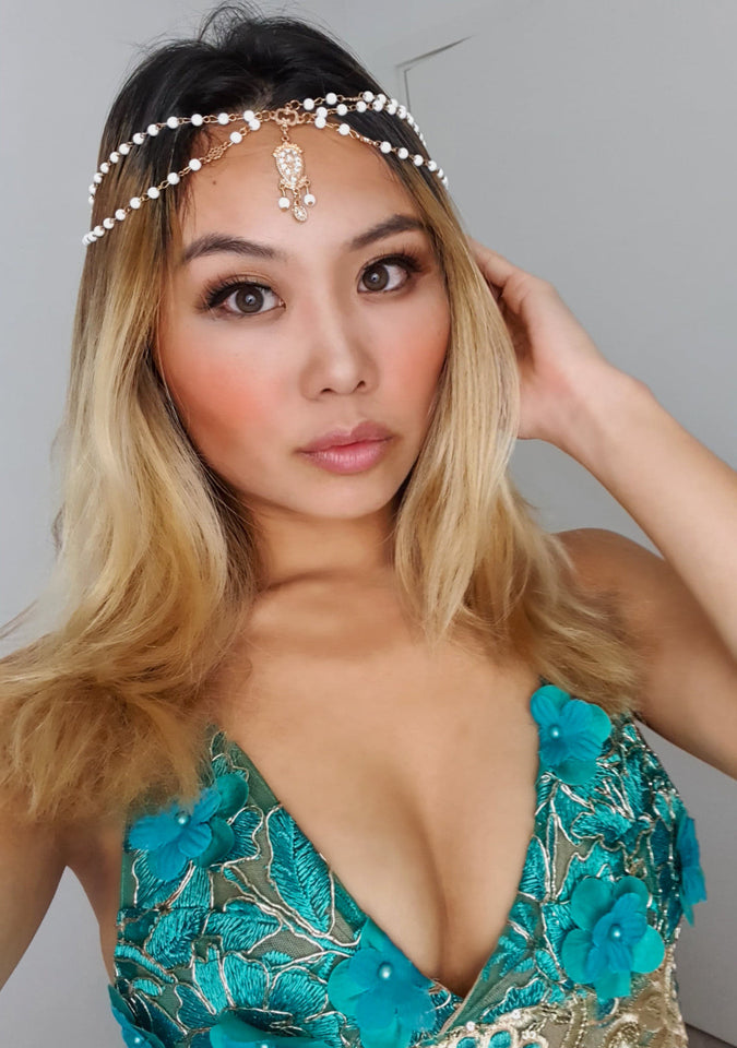 Gold Beaded LILIPEARL Rhinestone Bindiya Head Chain  - LiLiPearl - LiLiPearlUK - Handmade luxury dragon satin chinese unique womens clothing lace mesh prom dress festival crop top sequin bodychain dolls kill depop shopify silkfred chelsea pearl li bralet lili pearl
