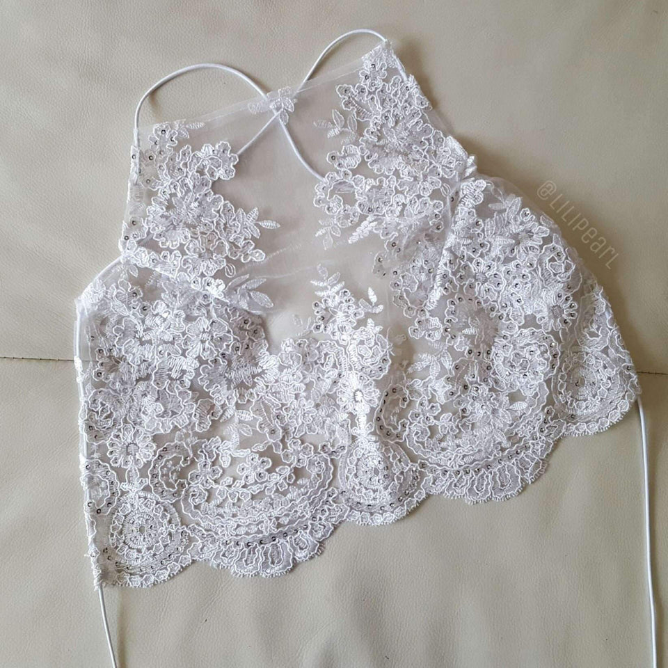 Snow LILIPEARL handmade lace bralet  - LiLiPearl - LiLiPearlUK - Handmade luxury dragon satin chinese unique womens clothing lace mesh prom dress festival crop top sequin bodychain dolls kill depop shopify silkfred chelsea pearl li bralet lili pearl