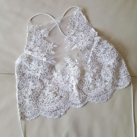 Snow LILIPEARL handmade lace bralet - LiLiPearl - LiLiPearlUK - Handmade luxury dragon satin chinese unique womens clothing lace mesh crop top bralet lili pearl