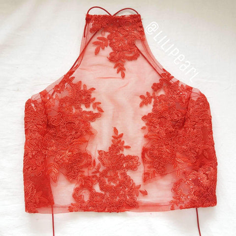 Mushu LILIPEARL handmade lace bralet - LiLiPearl - LiLiPearlUK - Handmade luxury dragon satin chinese unique womens clothing lace mesh crop top bralet lili pearl