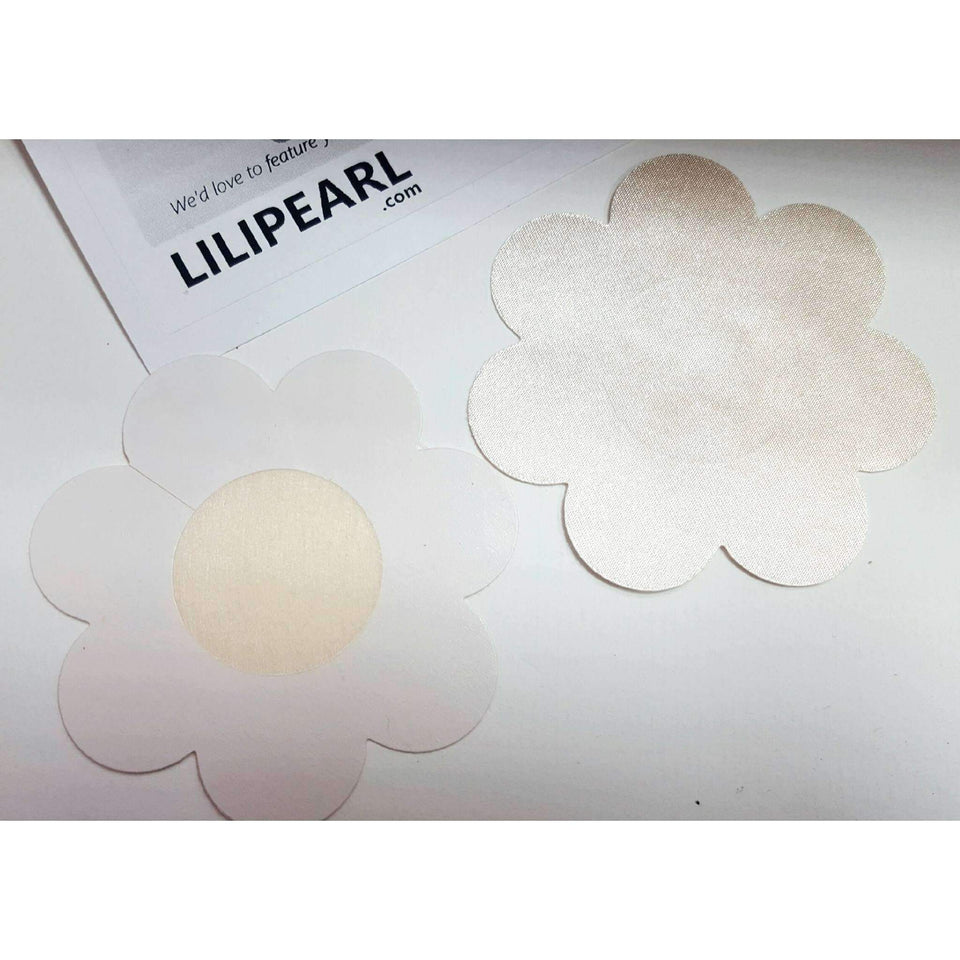 (1 Pair) Nude flower nipple covers  - LiLiPearl - LiLiPearlUK - Handmade luxury dragon satin chinese unique womens clothing lace mesh prom dress festival crop top sequin bodychain dolls kill depop shopify silkfred chelsea pearl li bralet lili pearl