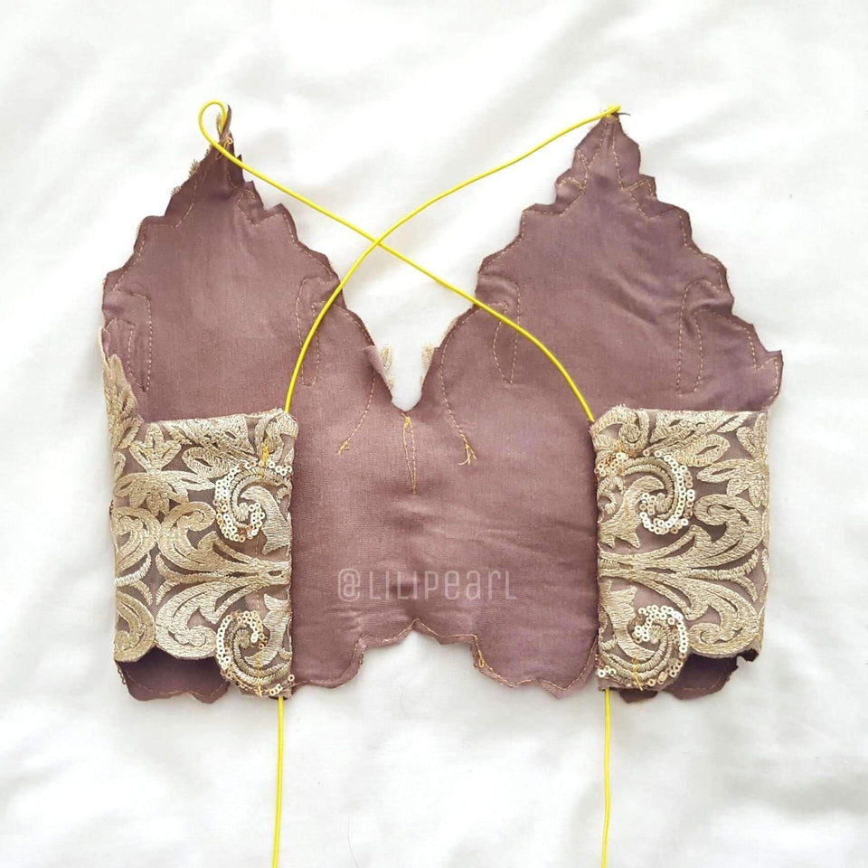 Bronzer LILIPEARL handmade lace triangle bralet  - LiLiPearl - LiLiPearlUK - Handmade luxury dragon satin chinese unique womens clothing lace mesh prom dress festival crop top sequin bodychain dolls kill depop shopify silkfred chelsea pearl li bralet lili pearl